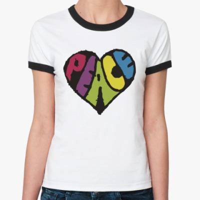 Женская футболка Ringer-T Сердце мира