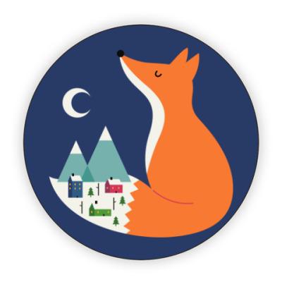 Костер (подставка под кружку) Зимний лис