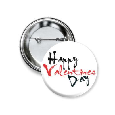 Значок 37мм Happy Valentines Day