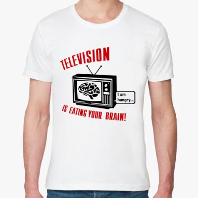 Футболка из органик-хлопка Телевидение ест мозг