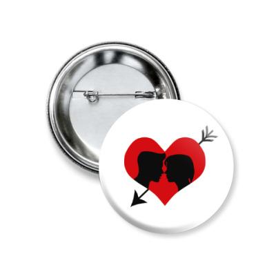 Значок 37мм Сердце хочет любви
