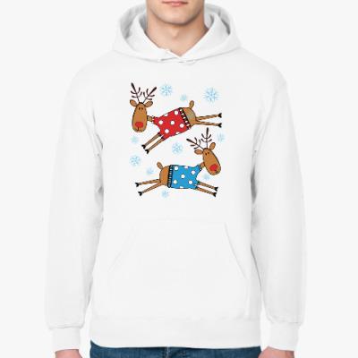 Толстовка худи Новогодние олени в свитерах