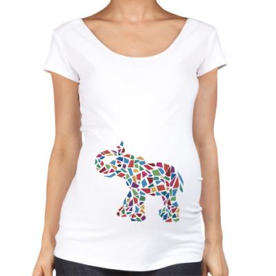 Футболка для беременных Слон - мозаика