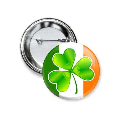 Значок 37мм   Ирландский клевер