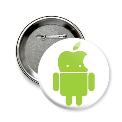 Значок 58мм Андроид голова-яблоко