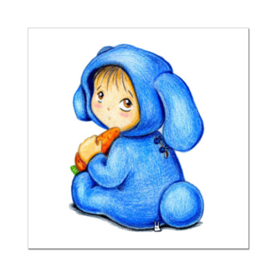 Наклейка (стикер) Мальчик-зайчик