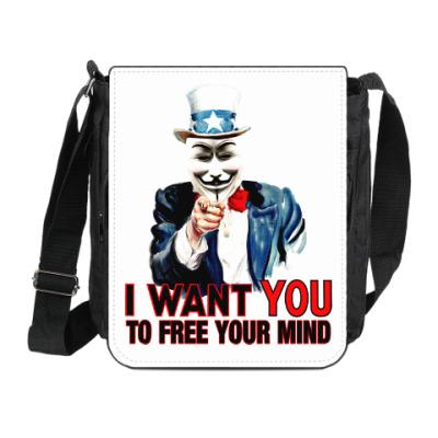 Сумка на плечо (мини-планшет) Anonymous Uncle Sam