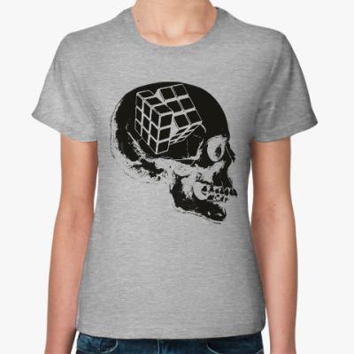 Женская футболка Череп и Кубик Рубика