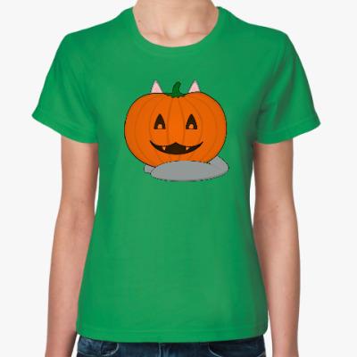 Женская футболка Кото-тыква
