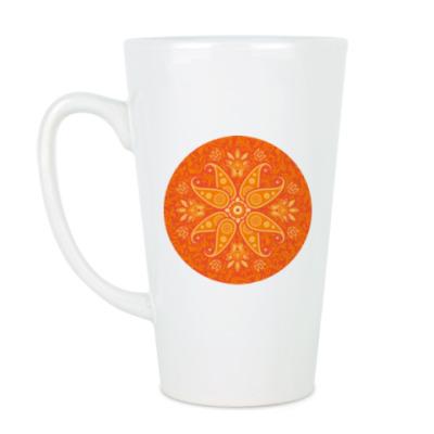 Чашка Латте Яркий цветочный узор в круге