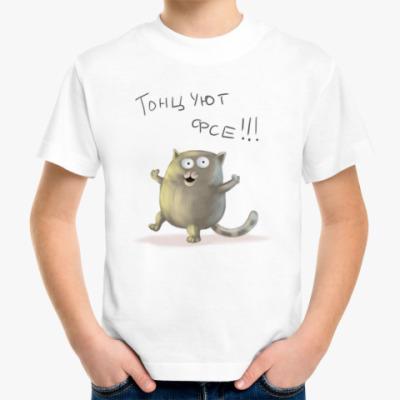 Детская футболка прикольный котик