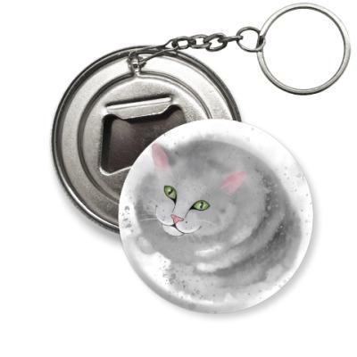 Брелок-открывашка Серый кот, кошка