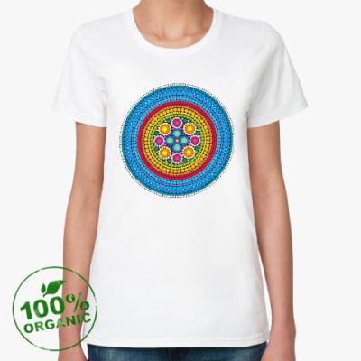 Женская футболка из органик-хлопка Яркий индийский узор