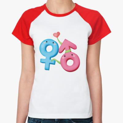 Женская футболка реглан Венера и Марс