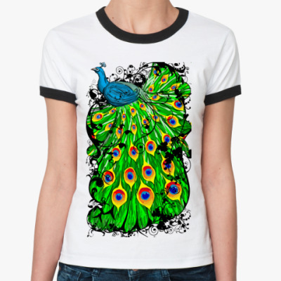 Женская футболка Ringer-T Павлин