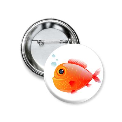 Значок 37мм Довольная рыба