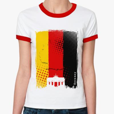 Женская футболка Ringer-T Сердце Германии в одной палитре