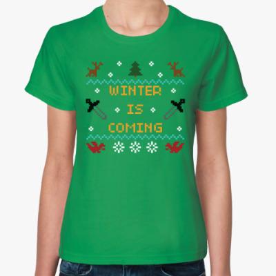 Женская футболка Зима близко. Новогодняя