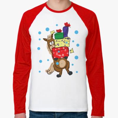 Футболка реглан с длинным рукавом Новогодняя лошадь с подарками