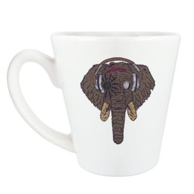 Чашка Латте Слон в наушниках