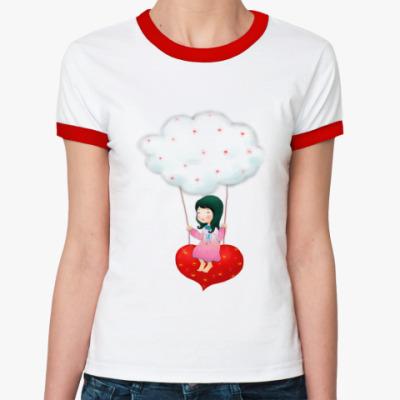Женская футболка Ringer-T Девочка на сердце