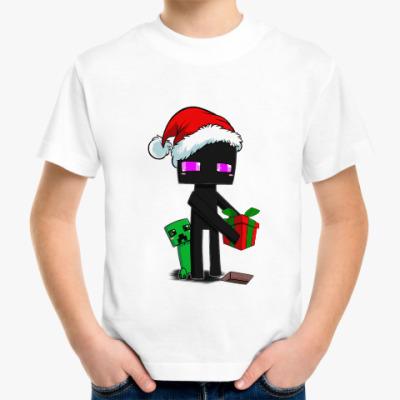 Детская футболка Эндермен из майнкрафта поздравляет с Новым Годом!