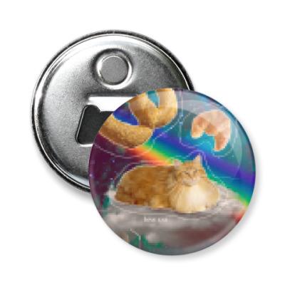 Магнит-открывашка Космический кот на облаке