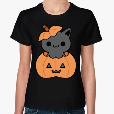 Женская футболка Pumpkin Cat