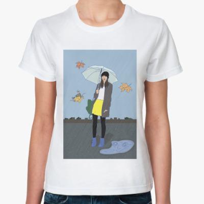 Классическая футболка девушка  осенью