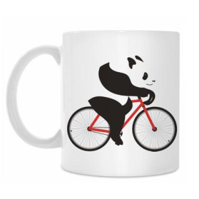 Кружка Медведь панда на велосипеде