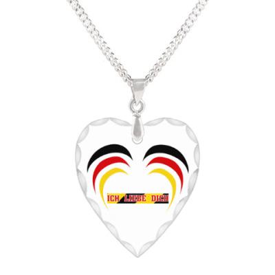 Кулон 'сердце' Я люблю тебя по-немецки