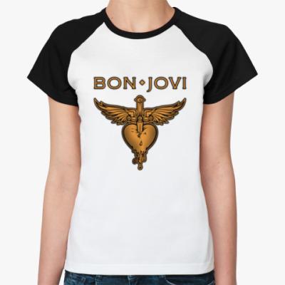 Женская футболка реглан Bon Jovi