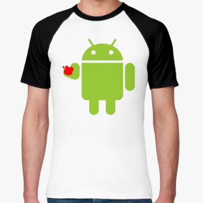 Футболка реглан Андроид с яблоком