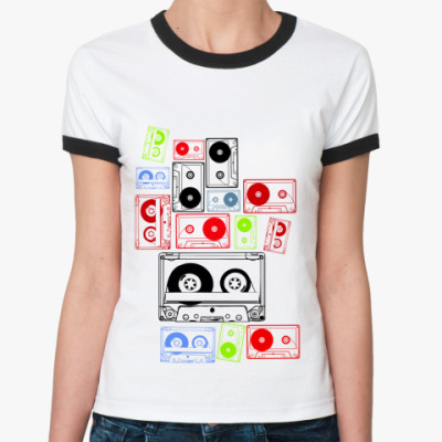 Женская футболка Ringer-T Аудио Кассеты