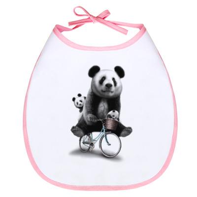 Слюнявчик Панды на велосипеде