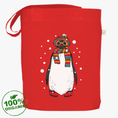 Сумка Новогодний пингвин в шапке