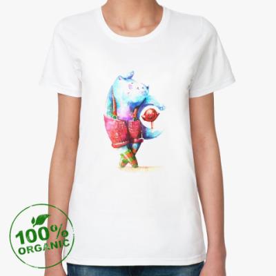 Женская футболка из органик-хлопка Танцующий кот