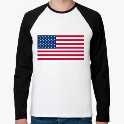 Футболка реглан с длинным рукавом  Флаг США