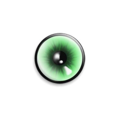 Значок 25мм  Зелёный глаз