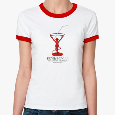 Женская футболка Ringer-T  жен (бел/к) АДСКОЕ ПИТИЕ