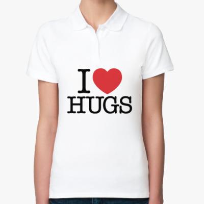 Женская рубашка поло I love HUGS