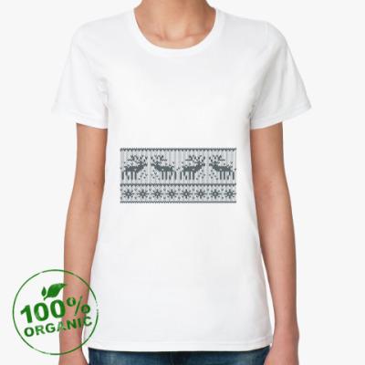 Женская футболка из органик-хлопка свитер с оленями