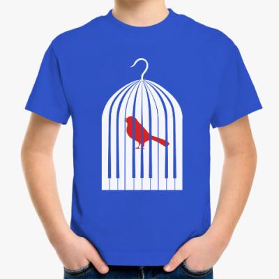 Детская футболка Птичка клетка пианино piano