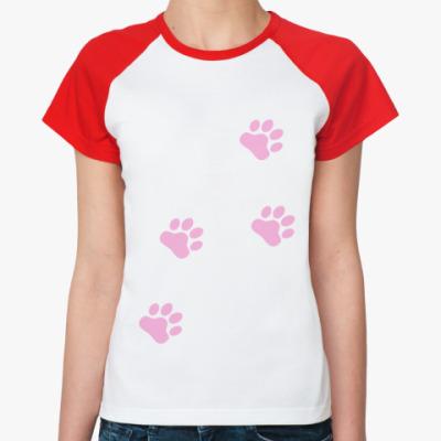 Женская футболка реглан Лапки