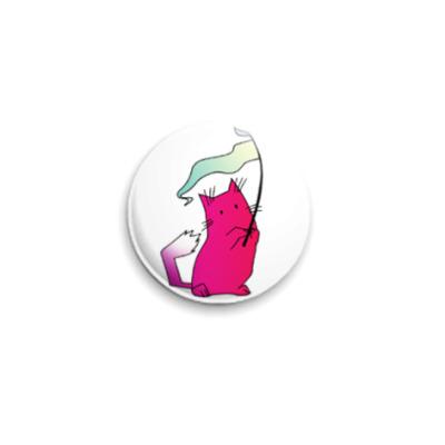 Значок 25мм  Розовый кот