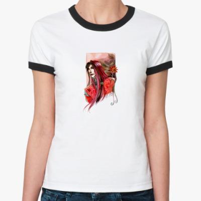 Женская футболка Ringer-T  'Dark red'