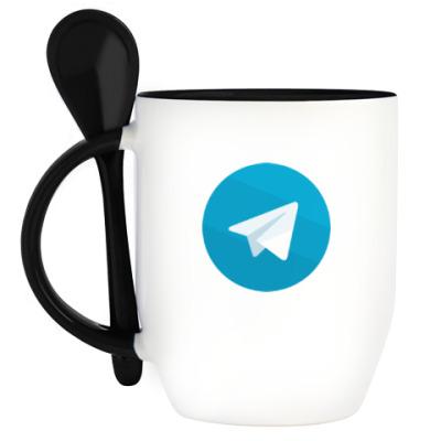 Кружка с ложкой Telegram
