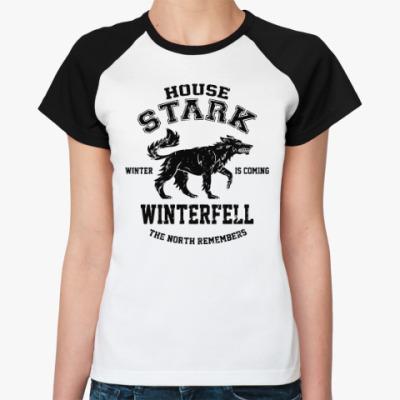 Женская футболка реглан Игра престолов.Винтерфелл