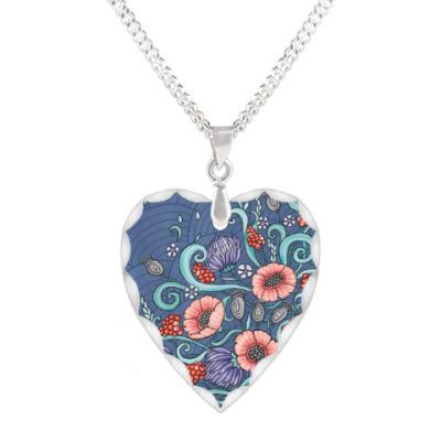 Кулон 'сердце' Волшебные цветы