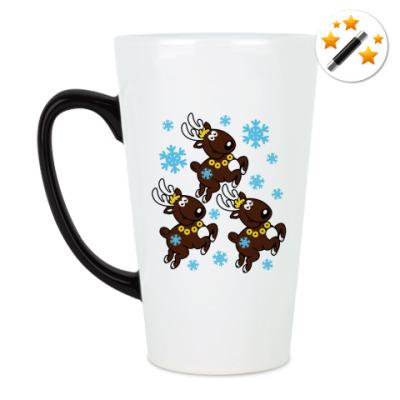 Кружка-хамелеон Олени с бубенцами